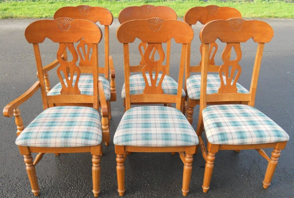 Set of Six Beech Kitchen Dining Chairs